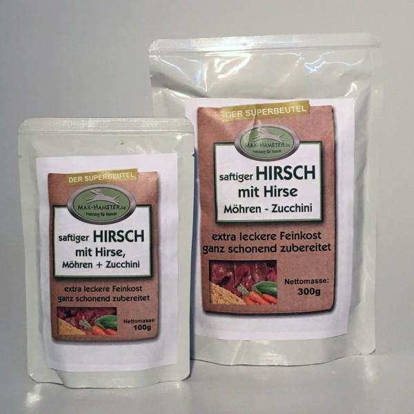 saftiger HIRSCH mit Hirse, Möhren + Zucchini - Premium-Feinkost